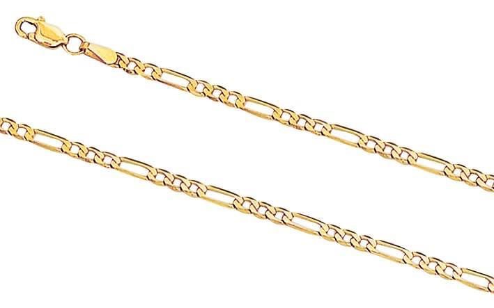 9k / 9ct gold bracelet: 3+1 figaro, 2.7mm wide, 19cm