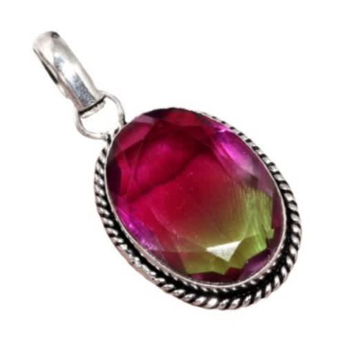 Bi-colour ametrine gemstone.925 sterling silver fashion