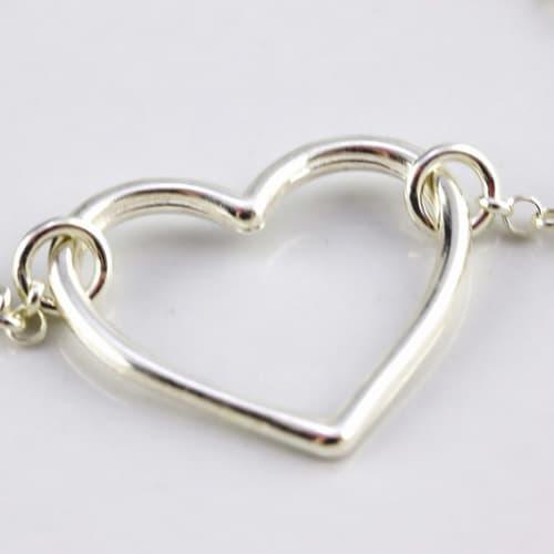Dainty openwork heart pendant 47,2 cm rolo link italian
