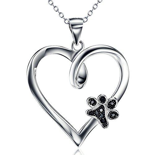 Sterling silver forever love heart puppy paw with cubic