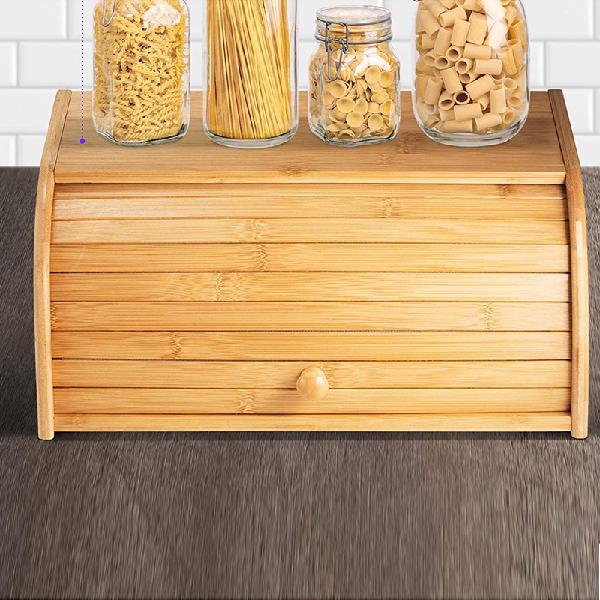 Bamboo wood roll top bread bin storage box kitchen food case