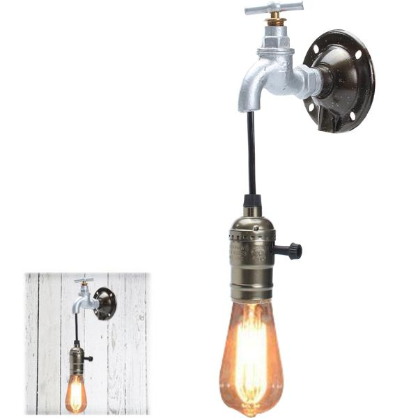 Industrial vintage retro e27 water tap pipe wall light