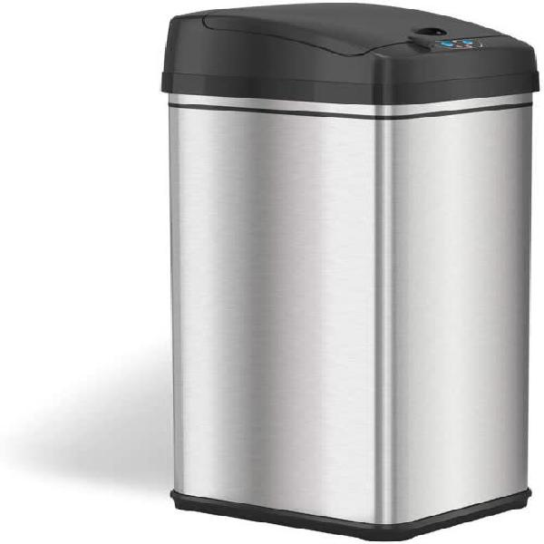Stainless steel automatic dustbin square shape - 48l