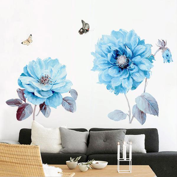 Blue flowers wall sticker room sticker living room