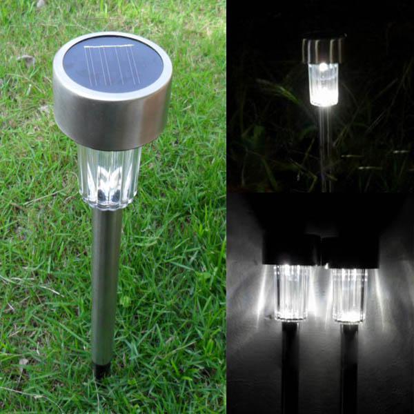 Garden solar power white led lamp stainless steel waterproof