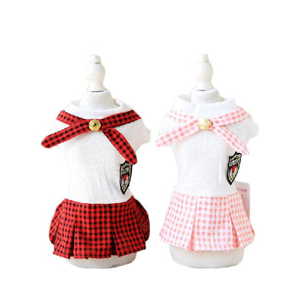 Summer pet skirts for small size dogs with gold buckle plaid