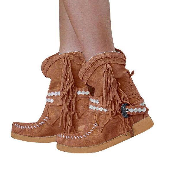 Women tassel fringe middle ankle boots fashion buckle