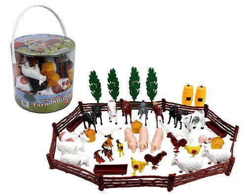 Farm animal action figures - big bucket of farm animals - 50