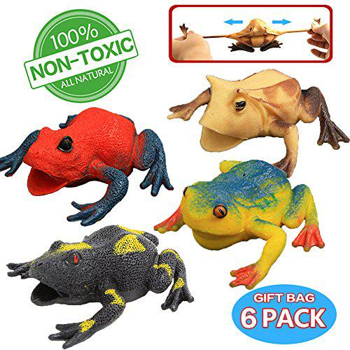 Frog toys,4.5 inch assorted rubber frog sets(6 pack),food