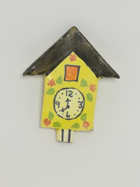 Miniature wooden painted clock (for printers tray/dollhouse)