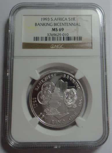 Republic of South Africa: Silver R1 of 1993 (Banking): NGC