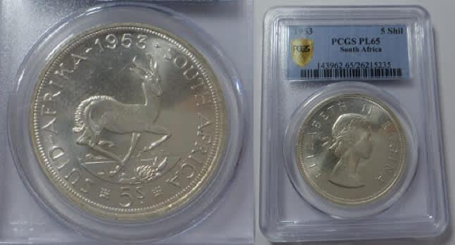 Union of South Africa: 5-Shillings (Crown) of 1953: PCGS