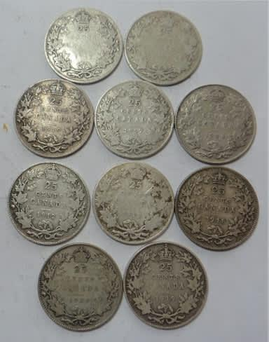 World SILVER Sets: Canada 10 x Sterling Silver Shillings