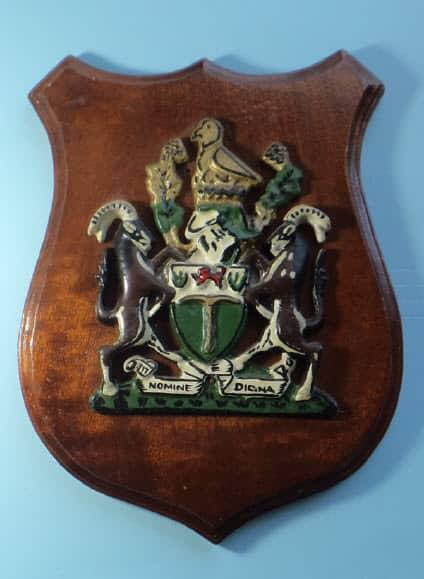 Large vintage rhodesian coat-of-arms metal plaque on wooden