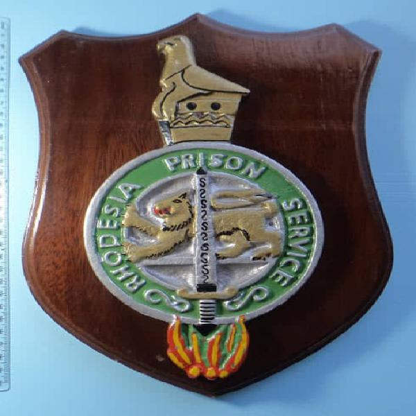 Large vintage rhodesian prison service metal plaque on