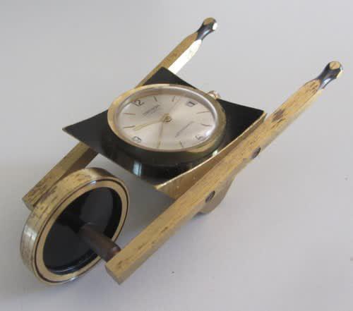 Oberon 17 jewels**desk top wheel barrow clock-swiss