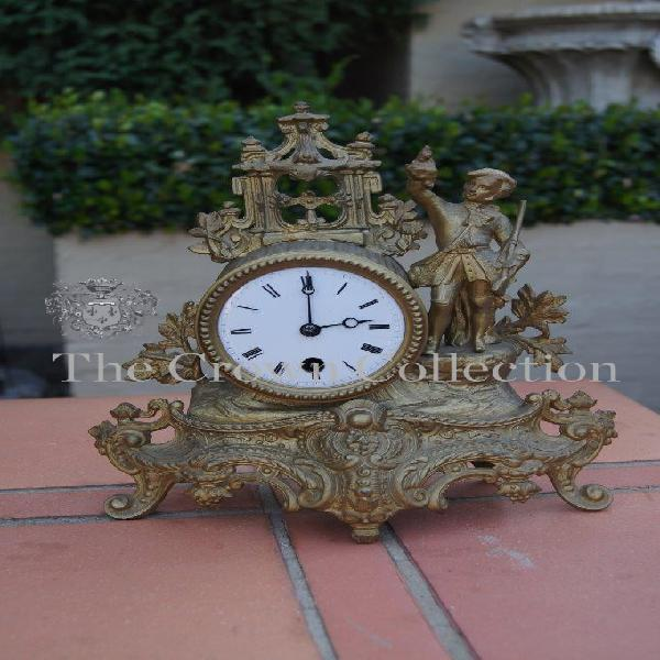 Vintage bronze casted french style mantle clock