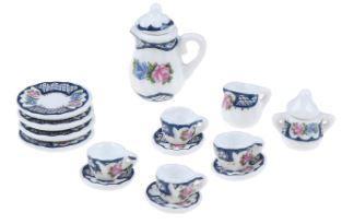 Miniature tea set (for printers tray/dollhouse) blue white