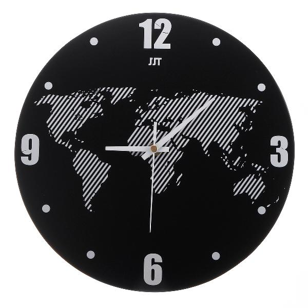 World map wall clock modern travel around density fibreboard