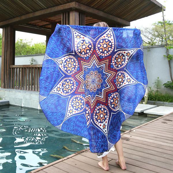 145cm round blue fish print thin chiffon beach yoga towel
