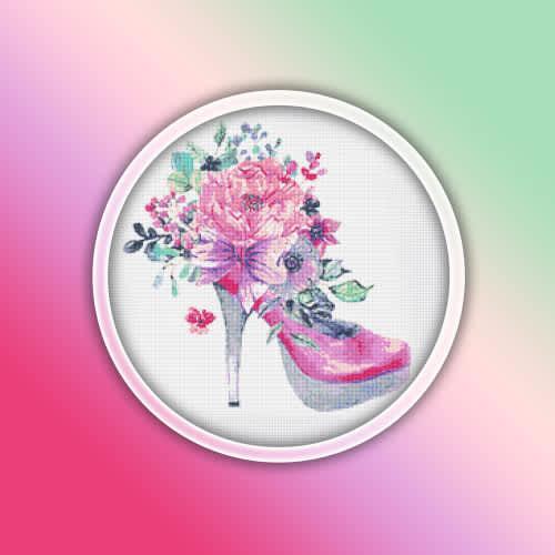 High heel shoe 1 cross stitch pattern pdf - fashion