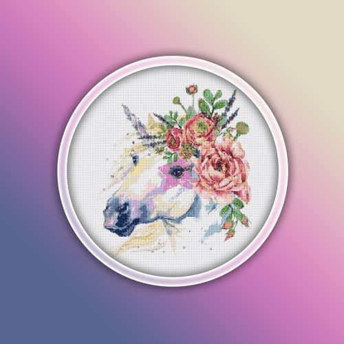 Horse 15 cross stitch pattern pdf - farm animals watercolor