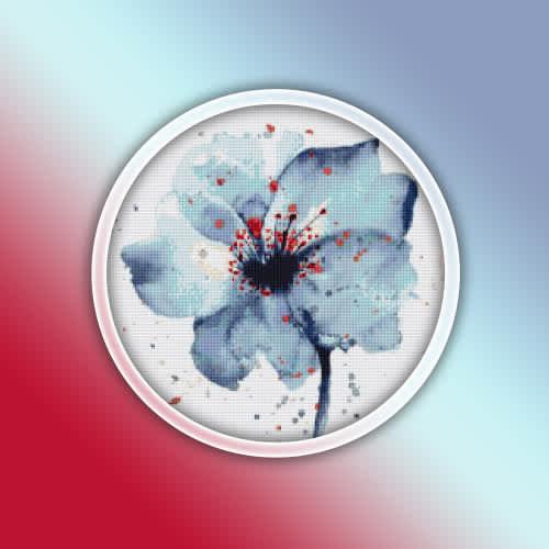 Blue poppy flower cross stitch pattern pdf - watercolor