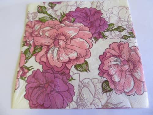 Decoupage serviettes, flower design, white with pink and