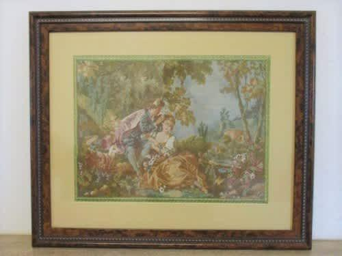 Vintage large french machine made tapestry with romantic