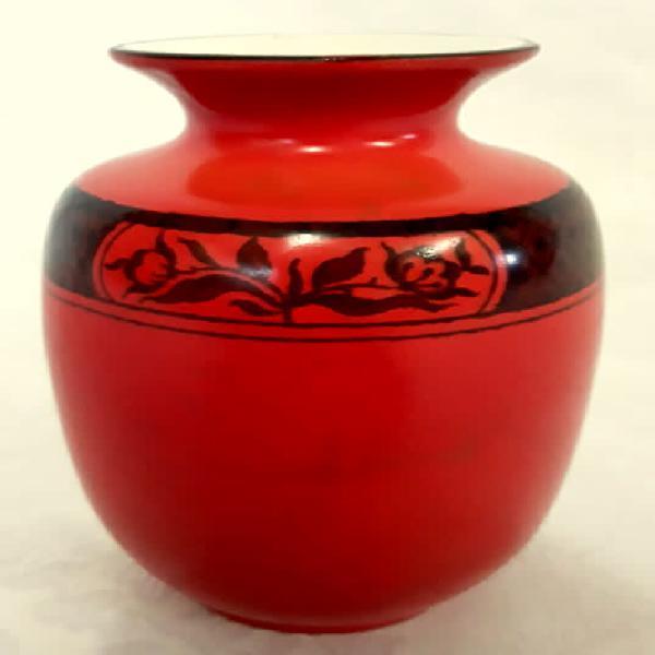 Very old vintage orange small vase, burleigh ware / burgess