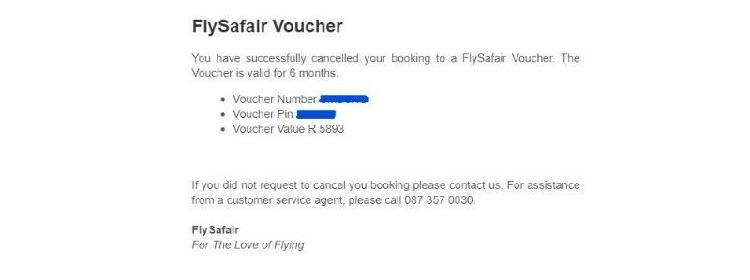 FlySafair Voucher For Sale Worth R5893.00