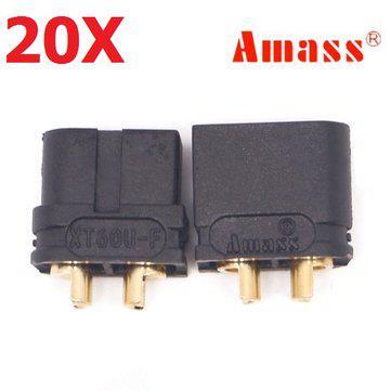 20 pair amass xt60u 3.5mm banana plug connector black male &