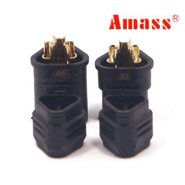 Amass mt30 2mm banana plug three-hole connector black male &