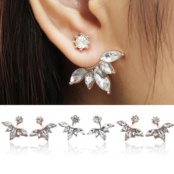 Elegant Silver Gold Plated Zircon Leaf Ear Stud Earrings For