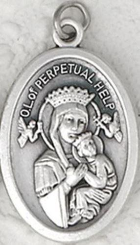 Our Lady of Perpetual Help Silver Oxidized Medal