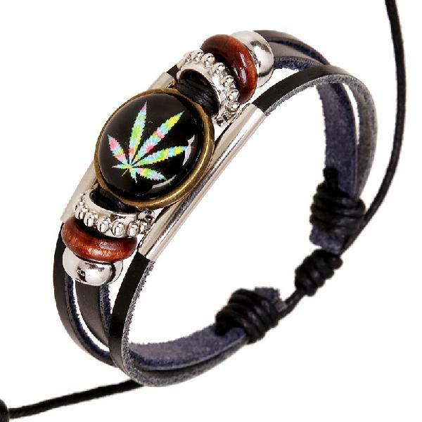 Punk Multilayer Unisex Bracelets Wooden Beads Maple Leaf