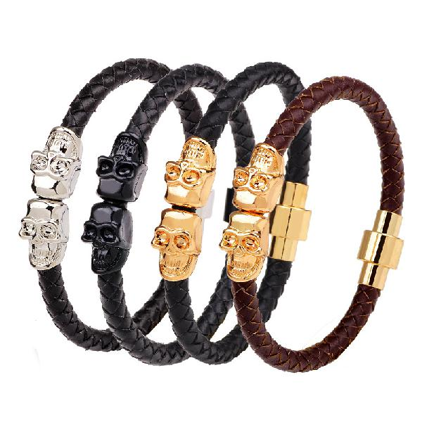 Retro Gold Mens Skull Bangle Bracelet Multicolor Leather