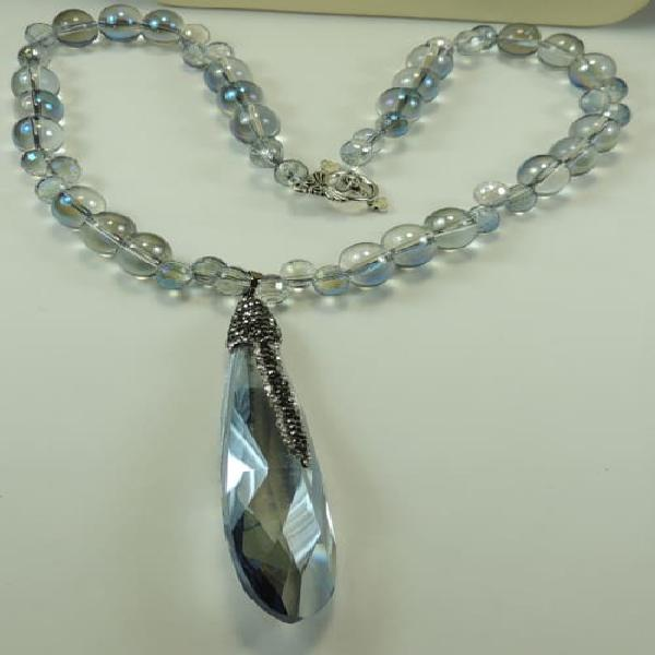Blue glass crystal rhinestone statement necklace