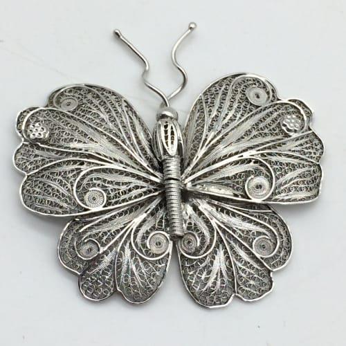 Large vintage mexican silver filigree butterfly brooch