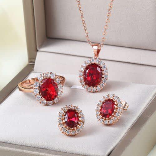 Villa rose rose gold red austrian crystal jewelry set 3pcs