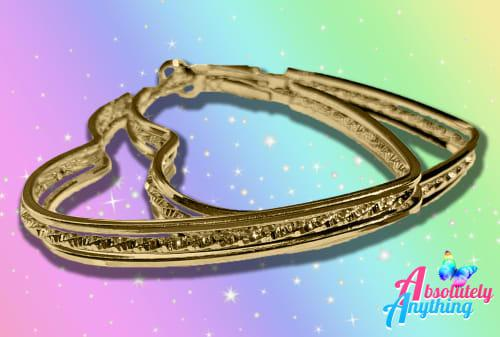 Wholesale - 4 pairs of heart hoop gold plated fashion