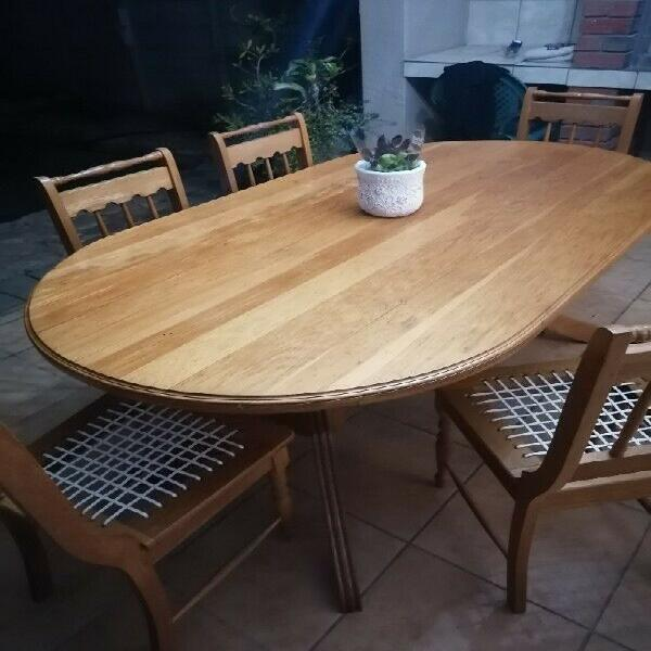 6 seater solid oak dining room table