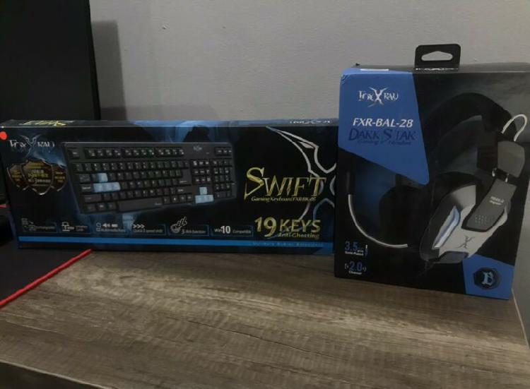 Foxxray gaming combo headset and keyboard