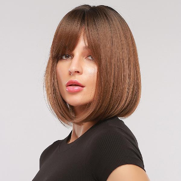 Inch 14inches)14 inch black gradient brown short straight