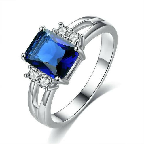 Blue sapphire crystal 10kt white gold filled ring size 9