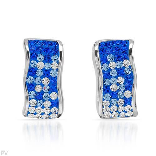 Crystal and blue enamel stud earrings in 925 sterling silver