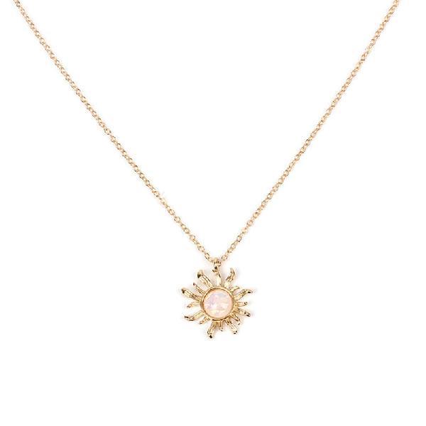 Fashion silver gold sun flower pendant necklace opal chain