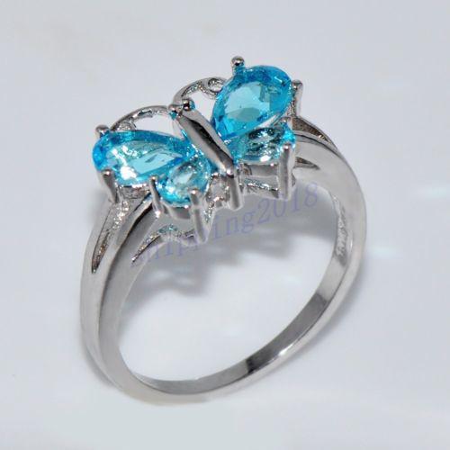 Size 10 fashion blue aquamarine crystal women`s 18kt white