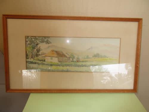 Framed watercolour on board g shilling landscape scene