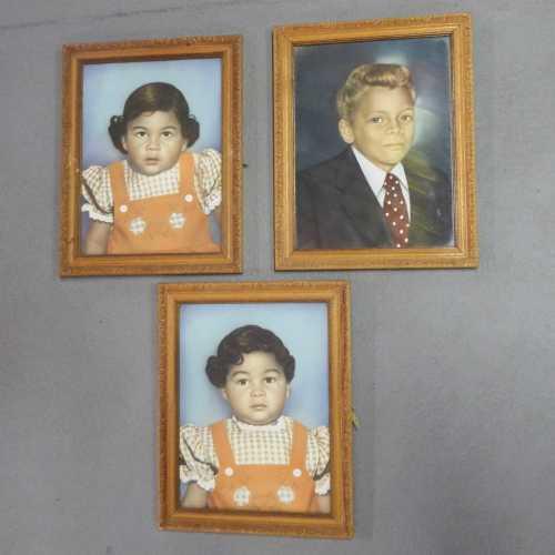 Set of 3 vintage photos of children in old wooden frames